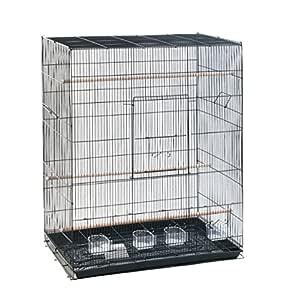 Elegante jaula rectangular de metal oscuro para pájaros: Amazon.es ...
