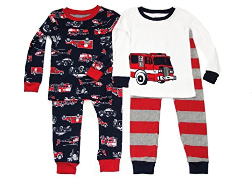 Fire Monkey Costume (Boy's Size 3T Firetruck Rescue Vehiclies 4-Piece Costume Pajama Pants Set)