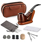 Joyoldelf Rosewood Smoking Pipe Kit, Transparent Stem Pipe with Brown Leather Pipe Bag, Wooden Stand Holder, 9mm Filters and Other Accessories