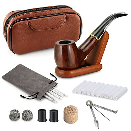 Joyoldelf Rosewood Smoking Pipe Kit, Transparent Stem Pipe with Brown Leather Pipe Bag, Wooden Stand Holder, 9mm Filters and Other Accessories by Joyoldelf