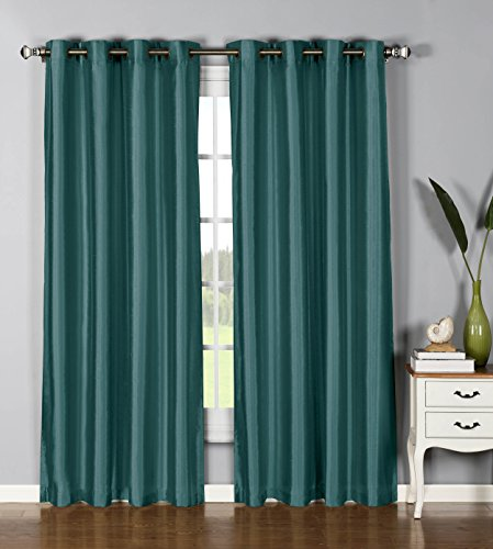 Window Elements Jane Faux Silk 76 x 84 in. Grommet  Curtain Panel Pair, Grey Teal