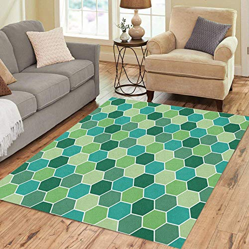 Semtomn Area Rug 2' X 3' Colorful Abstract Honeycomb Pattern Green Attached Bee Connection Creative Home Decor Collection Floor Rugs Carpet for Living Room Bedroom Dining Room