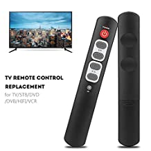 Fosa Learning Remote Control with 6 Big Buttons Smart Controller for TV STB DVD DVB HIFI VCR Support TV/STB/DVD/DVB/HIFI/VCR Perfect Choice for Elderly People Gray