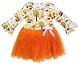 So Sydney Little Girls Long Sleeve Chiffon Tulle Princess Dress with Tutu Skirt (Fall Fox Orange, M (4T))