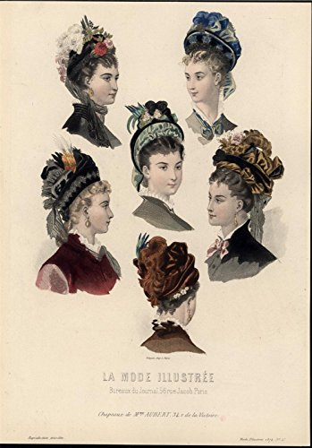 female-hats-headwear-decorative-feather-beauty-1874-old-hand-color-fashion-print