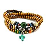 yofishop Mens Womens Turquoise Cross Pendant Green Bead Chain Wood Beads Multilayer Wrist Bracelet