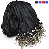 Black Lanyard Bulk Lanyards for Id Badges Flat Lanyard with Badge Clip Swivel Hook Beebel 50 Pack