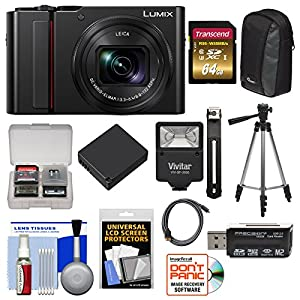 Panasonic Lumix DC-ZS200 4K Wi-Fi Digital Camera with 64GB Card + Case + Battery + Tripod + Flash Kit