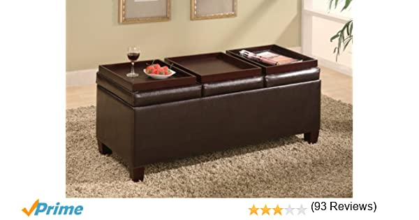 Amazon.com: Coaster Storage Ottoman Coffee Table with Trays, Brown Vinyl:  Kitchen u0026 Dining