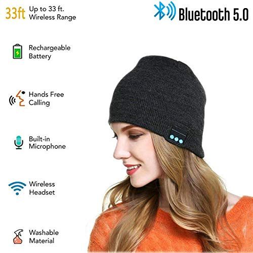SINNESKY Bluetooth Beanie, Gifts for Men and Women, Wireless Beanie Music Hat with V5.0 Built-in HD Stereo Speakers Microphone for Outdoor Sports, Christmas Birthday Thanksgiving Day Gift Dark-Gray