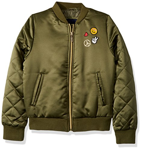 Transitional Olive Green - Limited Too Girls' Little Bomber W/Patches & Quilted Sleeves, Olive, 6X
