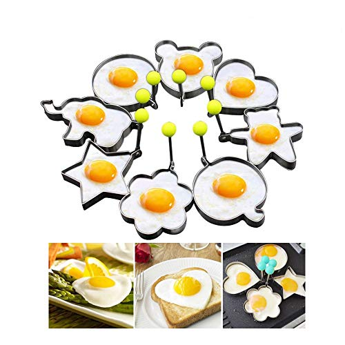Friedeggmolds, Pancake mold Maker with Handle for Kids, Mold Non Stick for Griddle Pan, Stainless Steel Egg Form for Frying Cooking (8 pack)