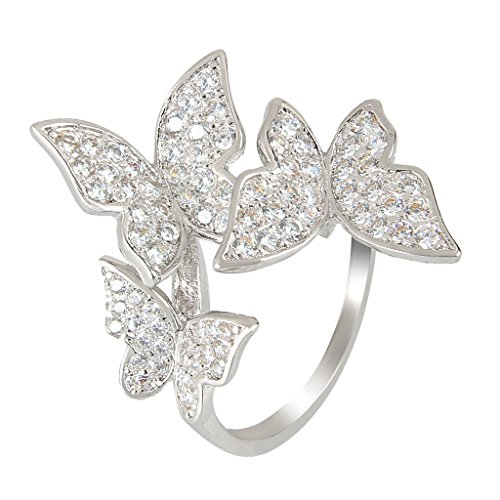 EleQueen Women's Silver-Tone Pave Cubic Zirconia 3 Butterfly Bridal Cocktail Ring Clear Size 7