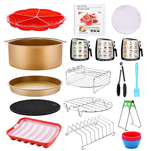 Air Fryer Accessories Anti-Stick 17 PCS with Pizza Pan Cake Barrel Waffle Mold Hot Dog Mold 3 Cooking Guide Magnets Sets Air Fryer Liners(100PCS) Cookbook (20 Recipes) Fit for All Airfryer 4.2QT – 6.8QT Dishwasher Safe BPA Free, Matte Gold
