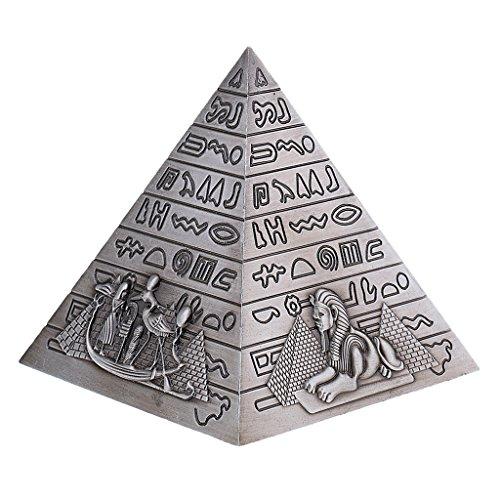 Homyl 10cm Tall Metal Handicrafts Egyptian Pyramids Building Model Home Bookshelf Shelf Display Ornament Xmas Gift kids Toy Gray