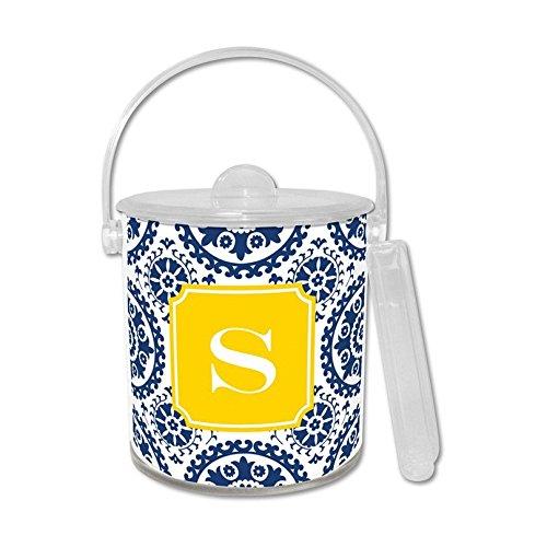 Boatman Geller Suzani Ice Bucket with Single Initial, M, Multicolored (Monogram Ice Bucket)