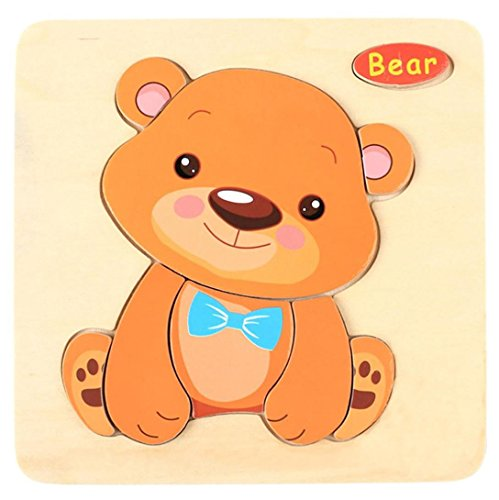 Kids Toddler Baby Cartoon Animals Wooden Puzzle Toys Educational Training Developmental Intelligence Training Toy Preschool Learning Growing Experiment Game Gift 1-5 Years (bear) ()