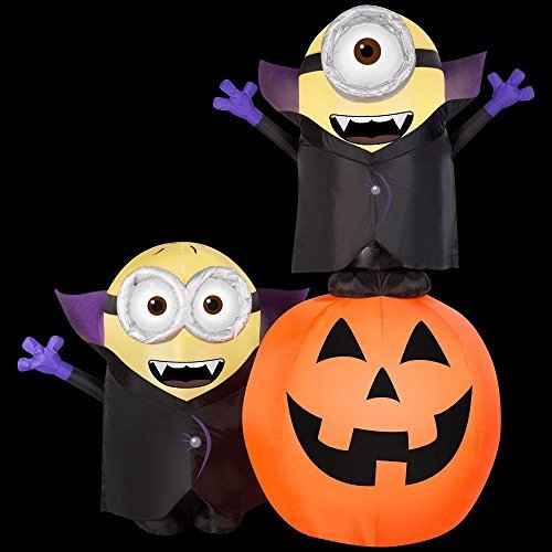 Halloween Lighted Minion Pumpkin Outdoor Inflatable Yard Decoration, 6.5 ft High x 6 ft Wide -