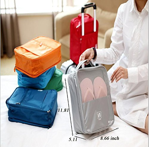 Travel Shoe Bag, MoreTeam 3 in 1 Shoe Storage Bag Holds 3 Pair of Shoes, Seperate Your Shoes From Clothes, Portable and Save Space for Men, Women, Gym, Easy And Quick Access To Your Shoes (Grey) by MoreTeam (Image #3)