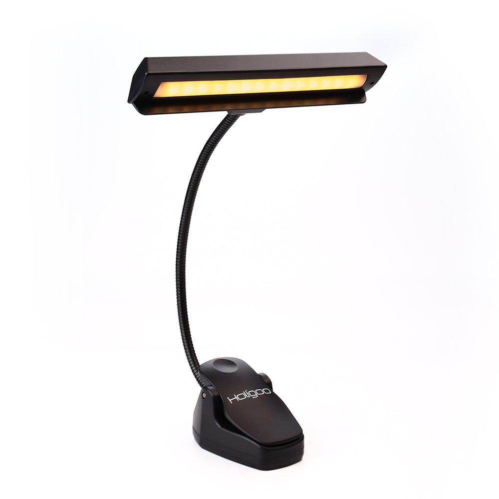 Holigoo Music Stand Light Clip on Book Light, 14 LED Book Reading Light Piano Light 2 Brightness Level Orchestra Lamp Adjustable Neck Clip on Desk, Table, Piano, Computor, Closet(USB-3AA Included)