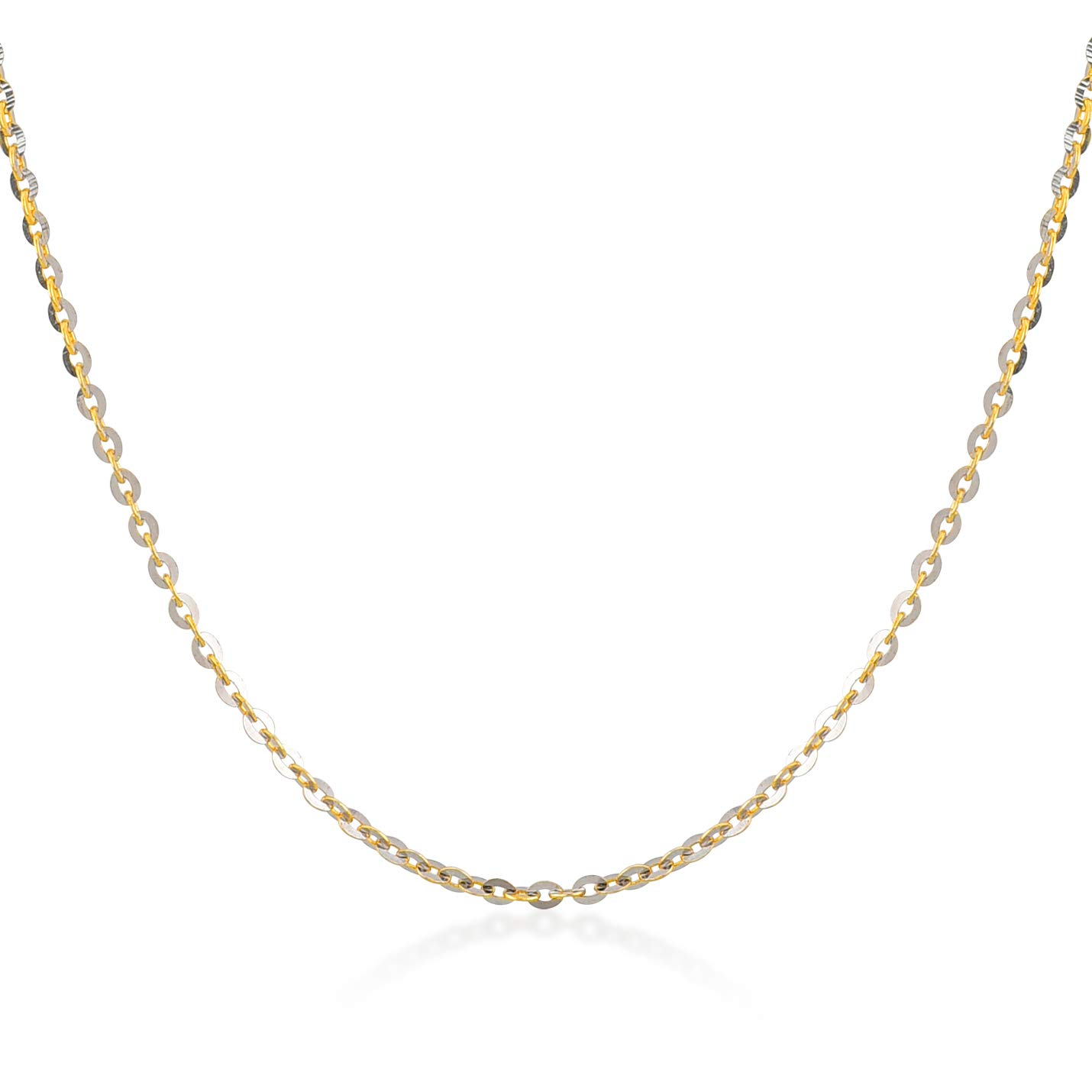 Gelin 14k Two Tone Gold 1.0 mm Pave Crystal Cable Ghost Chain for Women and Men,18''