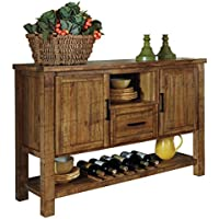 Ashley Furniture Signature Design - Krinden Dining Room Serving Table - Rustic Style with 6 Bottle Wine Rack - Light Brown