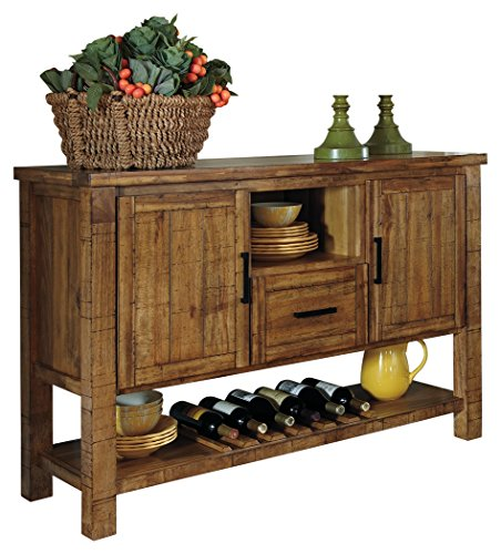Mission Style Wine Cabinet (Ashley Furniture Signature Design - Krinden Dining Room Serving Table - Rustic Style with 6 Bottle Wine Rack - Light Brown)