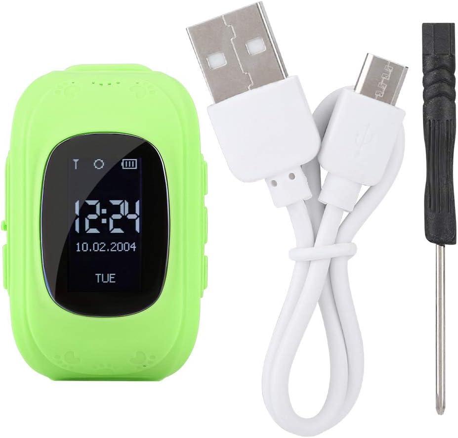 Naroote Smart Touch Watch,Reloj para niños Smart Watch Q50 1.44in Ni?os Reloj de posicionamiento a Prueba de Agua con Pantalla t¢ctil para GPS(Verde)