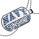 Dogtag NAVY Sunshine, Blue stripes Dog tags necklace - Neonblond