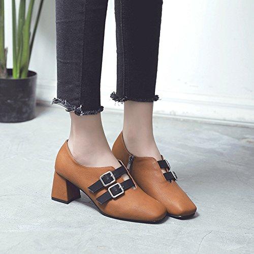 e autunno inverno alto fibbia a di con quadrata profondit trend spessore tacco scarpe Presidente qIYZXwq