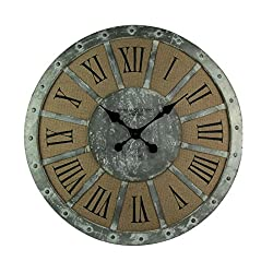 Elico Ltd. Wood & Metal Wall Clocks Distressed Metal And Linen Oversize Rustic Wall Clock 28 Inch 28 X 28 X 2 Inches Gray