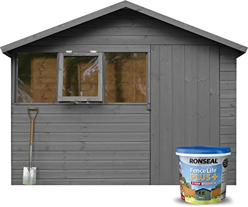 Ronseal 9L Fence Life Plus Garden Shed & Fence Paint UV Potection-All Colours 9L (Charcoal Grey)