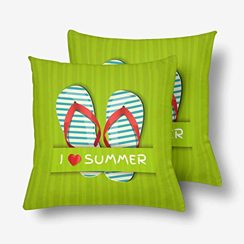 InterestPrint I Love Summer Flip Flop Green Throw Pillow Covers 18x18 Set of 2, Pillow Cushion Cases Pillowcase for Home Couch Sofa Bedding Decorative ()