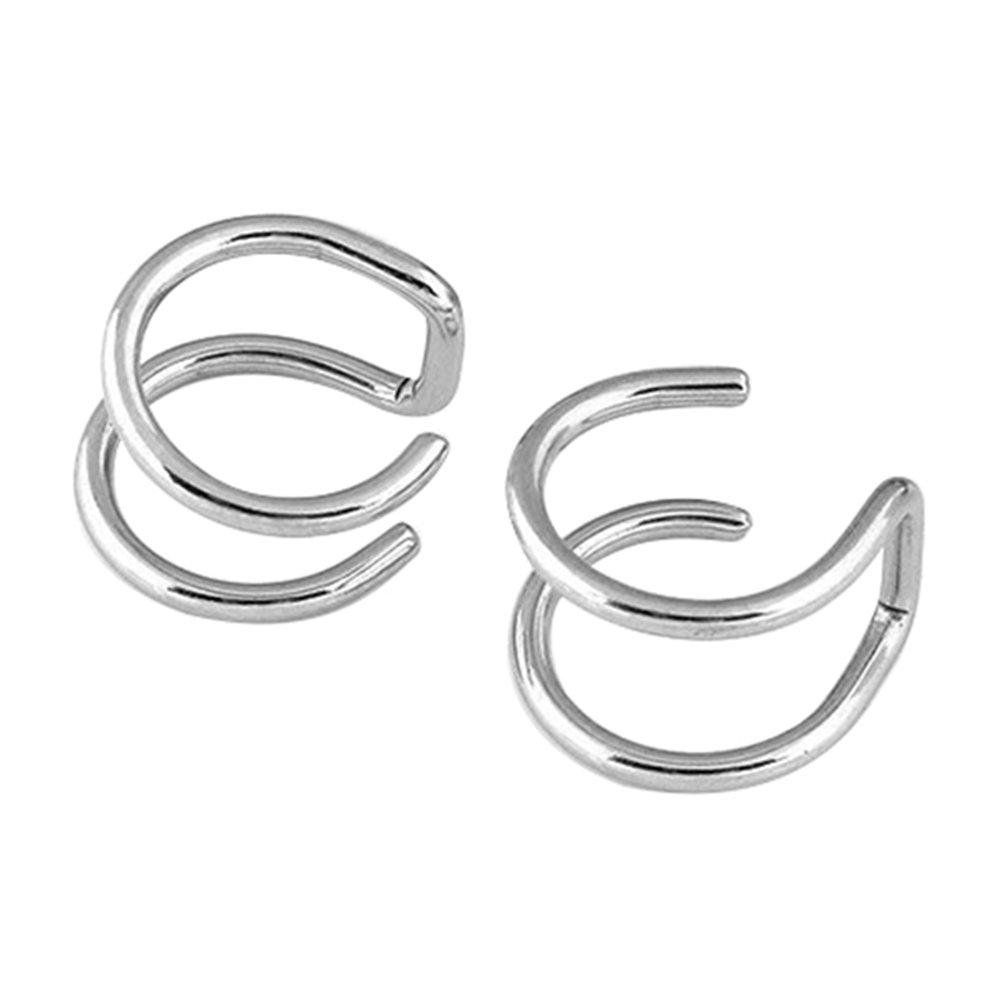 Amesii argento orecchini a clip da uomo e da donna non forano la cartilagine dellorecchio
