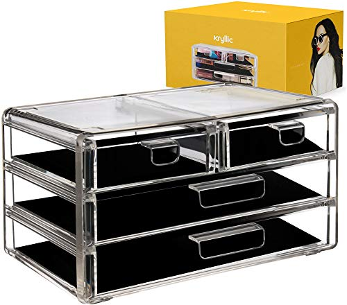 (Kcrylic Drawer Organizer - Clear Make up Organizer with 4 Box Drawers Hold Creams Lotions Nailpolish Lipstick Makeup Brush!)