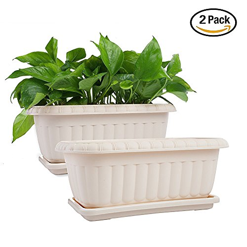 15 Inch Planter (Mkono 2 Pack Rectangular Planter Window Box 15 Inches Plastic Garden Pot with Saucers, Beige)