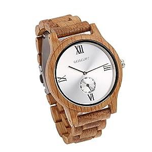 GOGOMY Men's Wrist Watch Oak Wooden Watch Analog Quartz Watches Men with Gift Box