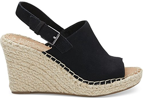 TOMS Monica Wedges Black Suede 10011842 Women's Size ()