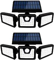 Otdair Luces de seguridad solar, 3 luces con sensores de movimiento ajustables 70LED Luces de inundación Luces