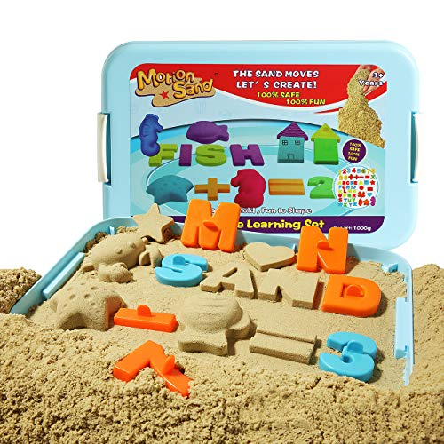 Motion Sand Play Sand , 2.2LBS of Natural Sand and Motion Creative Learning Playset with 52 Pcs Molds Kit, Non-Toxic Sand for Kids
