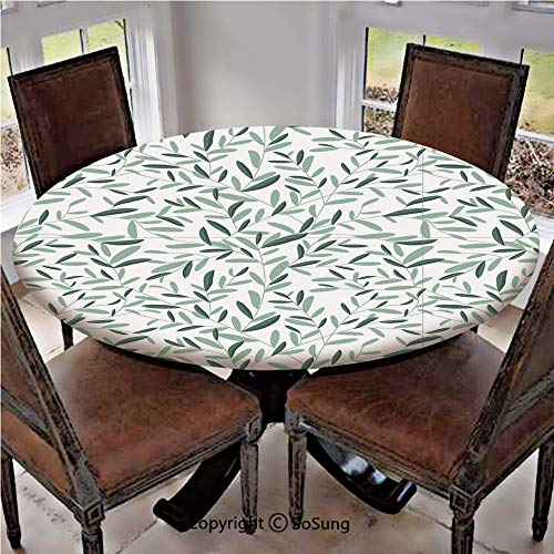 "Elastic Edged Polyester Fitted Table Cover,Pattern with Leaves Environment Nature Simplicity Summer Spring Plants Garden Decorative,Fits up 40""-44"" Diameter Tables,The Ultimate Protection for Your Tab"
