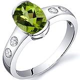 Peridot Ring Sterling Silver Rhodium Nickel Finish Oval Shape 1.25 Carats Half Bezel Size 6