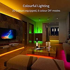 LED Strip Lights, Govee 5 Metre RGB Colour Changing Lighting Strip with Remote and Control Box, Multi-Coloured Mood…