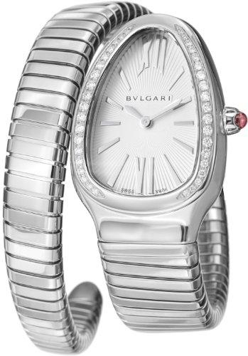 Bvlgari Serpenti Ladies Silver Face Diamond Watch SP35C6SDS.1T