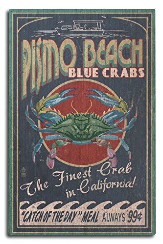 Pismo Beach, California - Blue Crabs Vintage Sign (10x15 Wood Wall Sign, Wall Decor Ready to - Beach Usa California Pismo