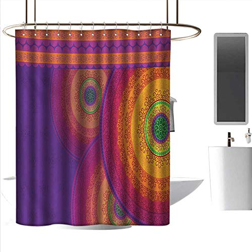 J Chief Sky Christmas Shower Curtain Oriental,Colorful Mandala Design with South Asian Folklore Inspirations Bullseye Circles,Multicolor Rust-Resistant Grommet Holes W55 x L84 Inch (Bullseye Plum Light)