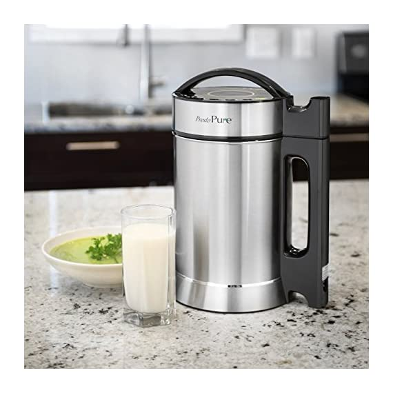 Idavee Brand - Presto Pure IAE15-1.9 Liter Automatic Hot Soy Milk (Almond, Rice, Quinoa Milk) Soup, Porridge & Cold Juice Maker - 2 Layer Stainless Steel - Recipe Booklet 2 1.9 liter capacity (1/2 gallon) - largest on the market - recipe booklet included 7 functions in one machine - make milk, porridge, oatmeal, pureed soup, juice, and more Perfect for nut milk such as almond, cashew, macadamias, Brazil nuts, hazelnut, pecan, and pistachio. Try it with seeds such as hemp, quinoa, pumpkin, sunflower, sesame, and flaxseed. Works for rice, coconut, oat milk too