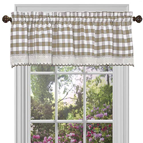 GoodGram Buffalo Check Plaid Gingham Custom Fit Window Curtain Treatments Assorted Colors, Styles & Sizes (Single 14 in. Valance, Taupe)