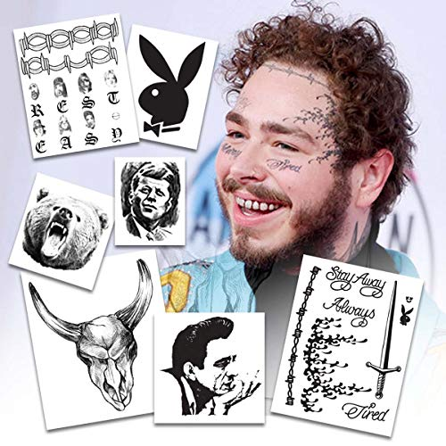Large set of Post Malone Temporary Tattoos Set (Best Barbed Wire Tattoo)