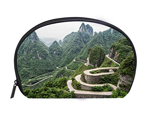 (Portable Toiletry Cosmetic Bag A view of the dangerous 99 curves at the Tongtian Road to Tianmen Mountain The Heavens Gate at Ladies Travel Convenience Small Wash Bag Storage Bag)